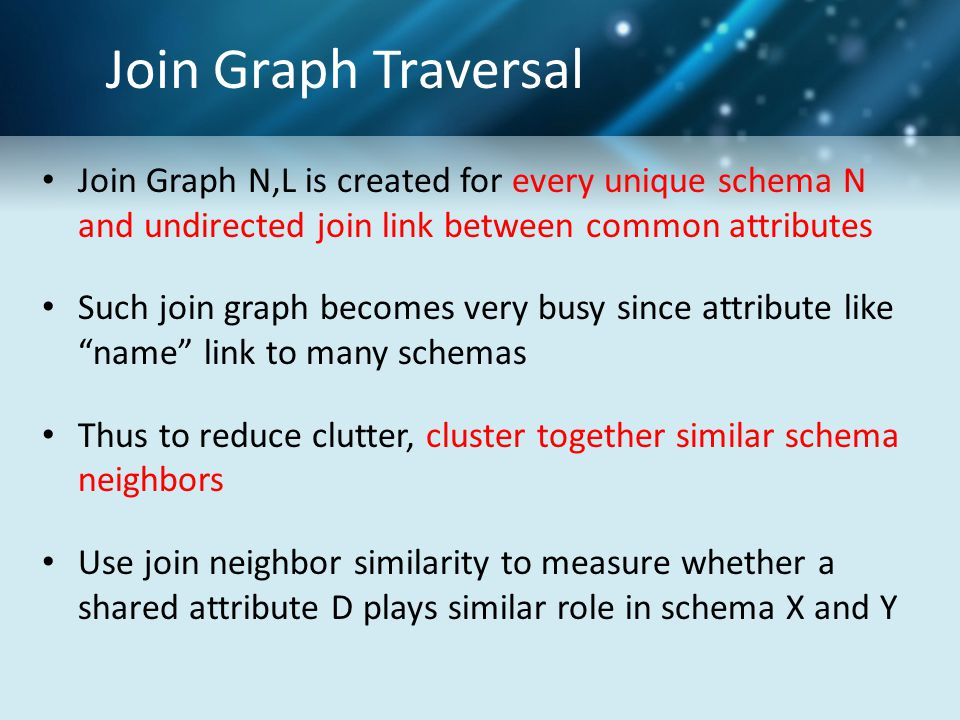 Join Graph N,L is created for every unique schema N and undirected join link between common attributes Such join graph becomes very busy since attribute like name link to many schemas Thus to reduce clutter, cluster together similar schema neighbors Use join neighbor similarity to measure whether a shared attribute D plays similar role in schema X and Y
