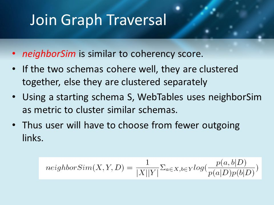 Join Graph Traversal neighborSim is similar to coherency score.
