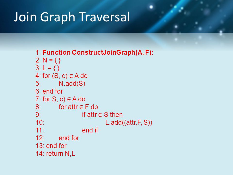 Join Graph Traversal 1: Function ConstructJoinGraph(A, F): 2: N = { } 3: L = { } 4: for (S, c) ∈ A do 5: N.add(S) 6: end for 7: for S, c) ∈ A do 8: fo