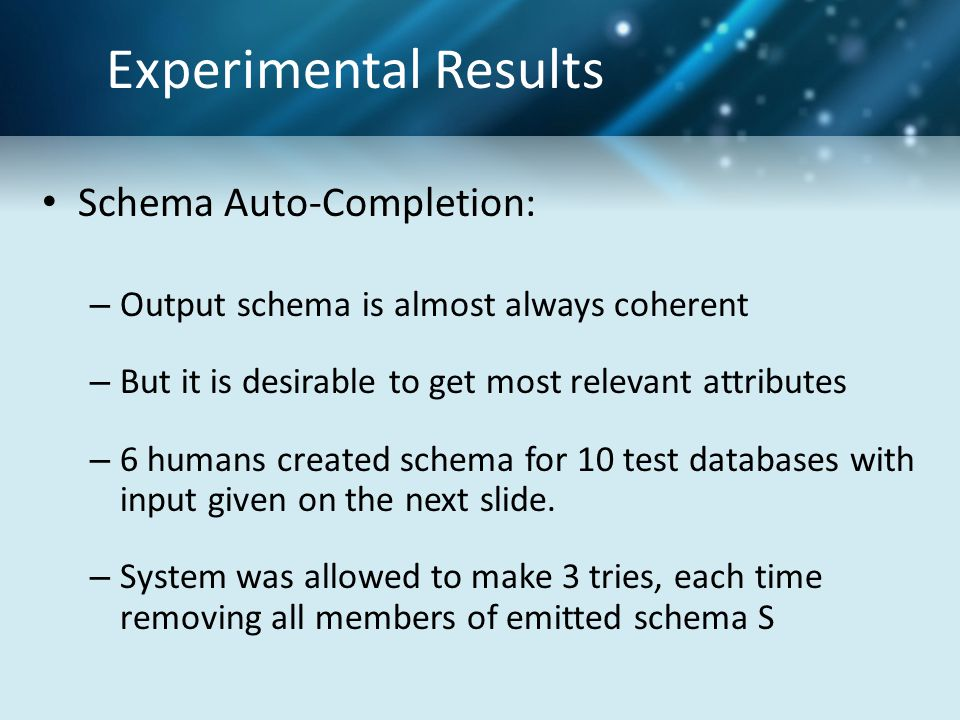 Experimental Results Schema Auto-Completion: – Output schema is almost always coherent – But it is desirable to get most relevant attributes – 6 humans created schema for 10 test databases with input given on the next slide.