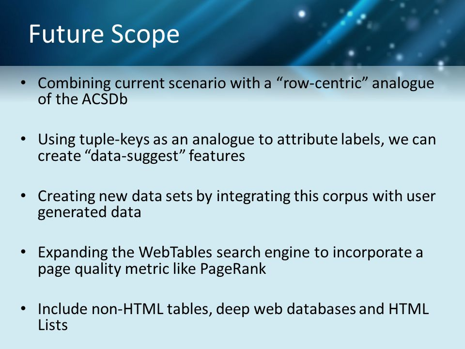 "Future Scope Combining current scenario with a ""row-centric"" analogue of the ACSDb Using tuple-keys as an analogue to attribute labels, we can create"