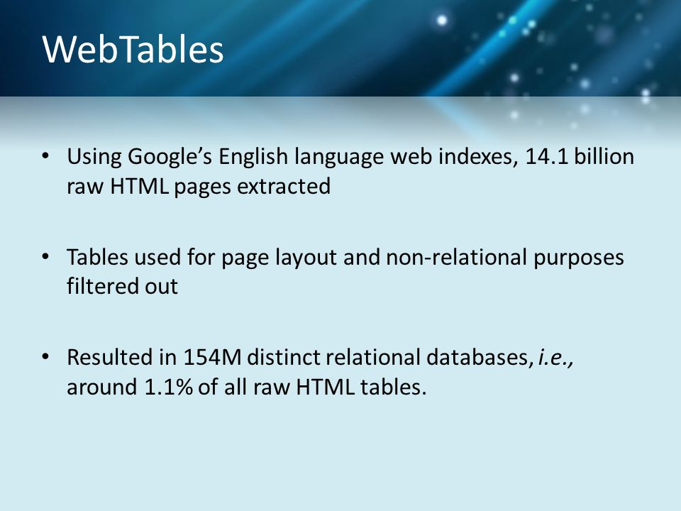 WebTables Using Google's English language web indexes, 14.1 billion raw HTML pages extracted Tables used for page layout and non-relational purposes filtered out Resulted in 154M distinct relational databases, i.e., around 1.1% of all raw HTML tables.
