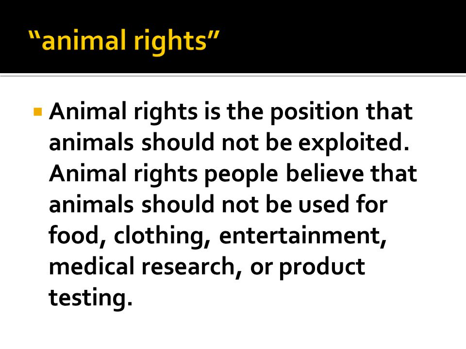  Animal rights is the position that animals should not be exploited. Animal rights people believe that animals should not be used for food, clothing,
