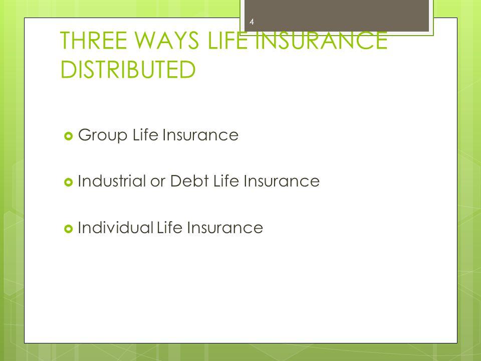 THREE WAYS LIFE INSURANCE DISTRIBUTED  Group Life Insurance  Industrial or Debt Life Insurance  Individual Life Insurance 4