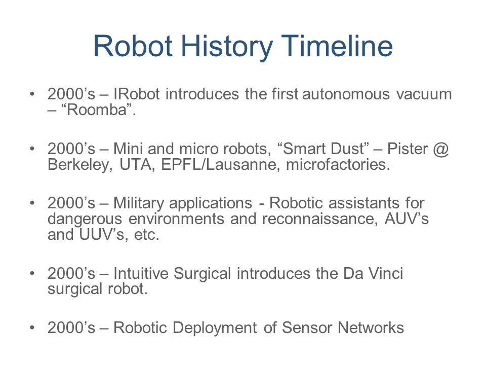 "Robot History Timeline 2000's – IRobot introduces the first autonomous vacuum – ""Roomba"". 2000's – Mini and micro robots, ""Smart Dust"" – Pister @ Berk"
