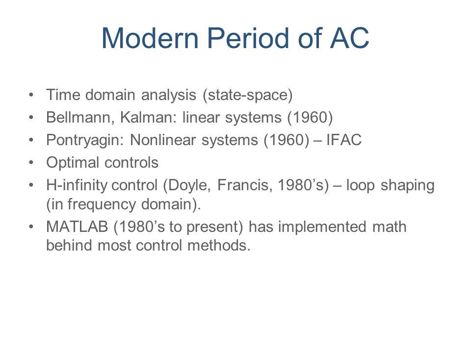 Modern Period of AC Time domain analysis (state-space) Bellmann, Kalman: linear systems (1960) Pontryagin: Nonlinear systems (1960) – IFAC Optimal con