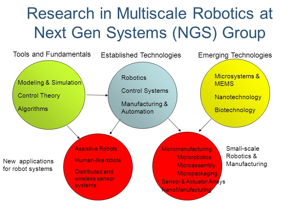 Research in Multiscale Robotics at Next Gen Systems (NGS) Group Robotics Control Systems Manufacturing & Automation Established TechnologiesEmerging T