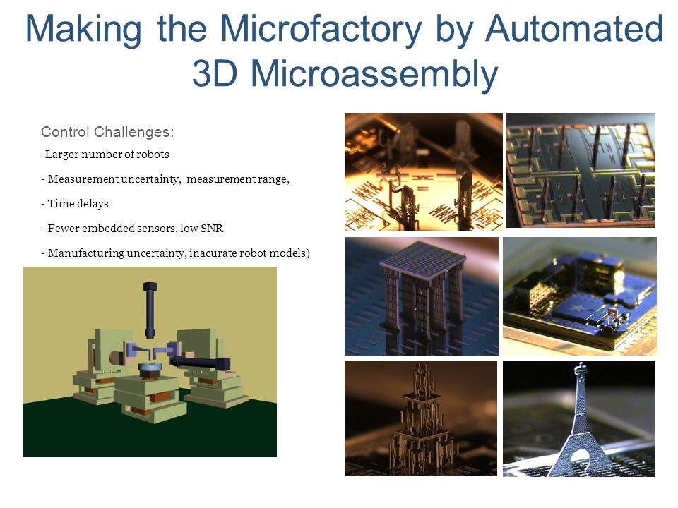 Making the Microfactory by Automated 3D Microassembly Control Challenges: - Larger number of robots - Measurement uncertainty, measurement range, - Ti
