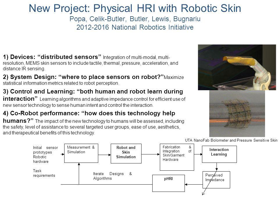 "New Project: Physical HRI with Robotic Skin Popa, Celik-Butler, Butler, Lewis, Bugnariu 2012-2016 National Robotics Initiative 1) Devices: ""distribute"
