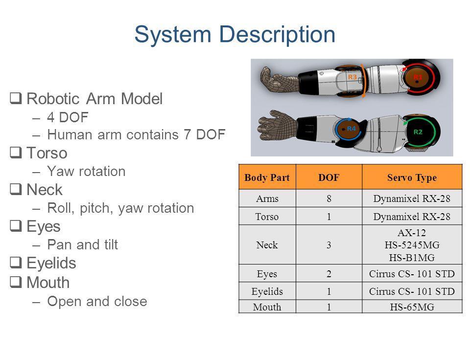 System Description  Robotic Arm Model –4 DOF –Human arm contains 7 DOF  Torso –Yaw rotation  Neck –Roll, pitch, yaw rotation  Eyes –Pan and tilt 