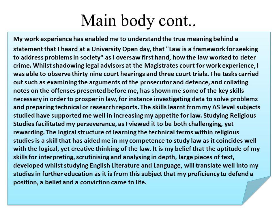Main body cont..
