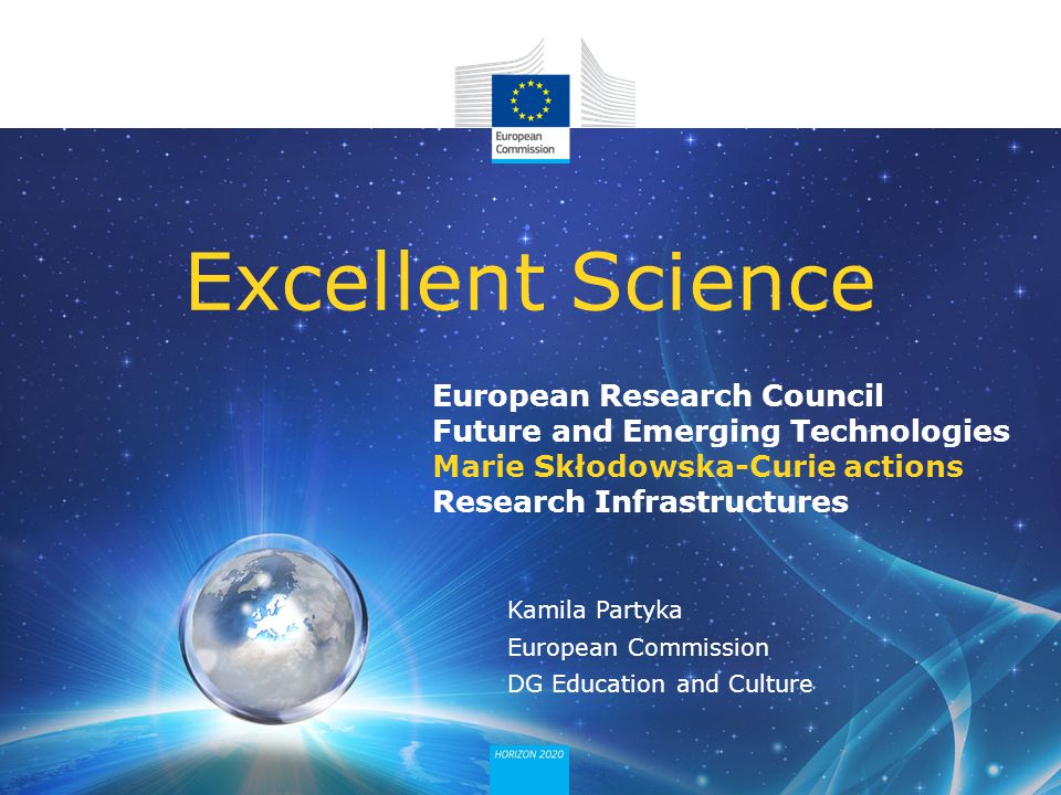 European Research Council Future and Emerging Technologies Marie Skłodowska-Curie actions Research Infrastructures Excellent Science Kamila Partyka Eu