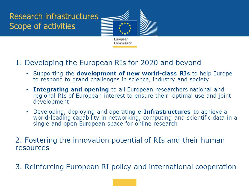 Research infrastructures Scope of activities 1. Developing the European RIs for 2020 and beyond Supporting the development of new world-class RIs to h