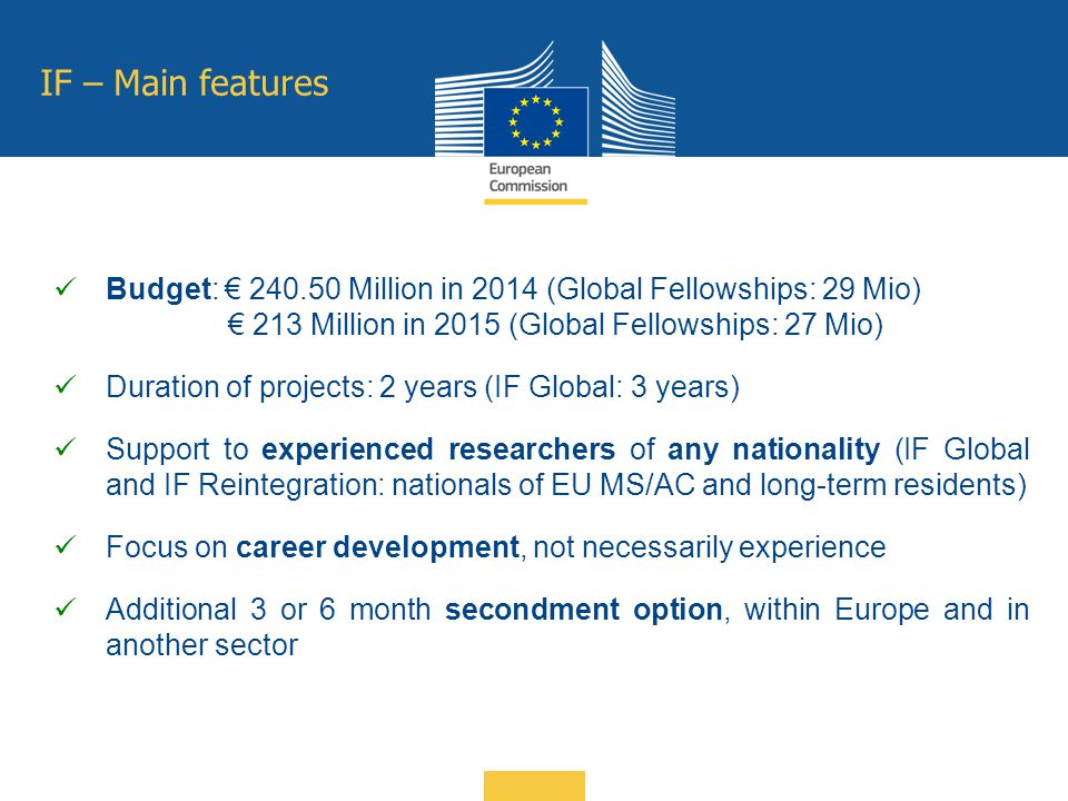 IF – Main features Budget: € 240.50 Million in 2014 (Global Fellowships: 29 Mio) € 213 Million in 2015 (Global Fellowships: 27 Mio) Duration of projec