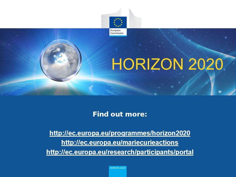 HORIZON 2020 Find out more: http://ec.europa.eu/programmes/horizon2020 http://ec.europa.eu/mariecurieactions http://ec.europa.eu/research/participants
