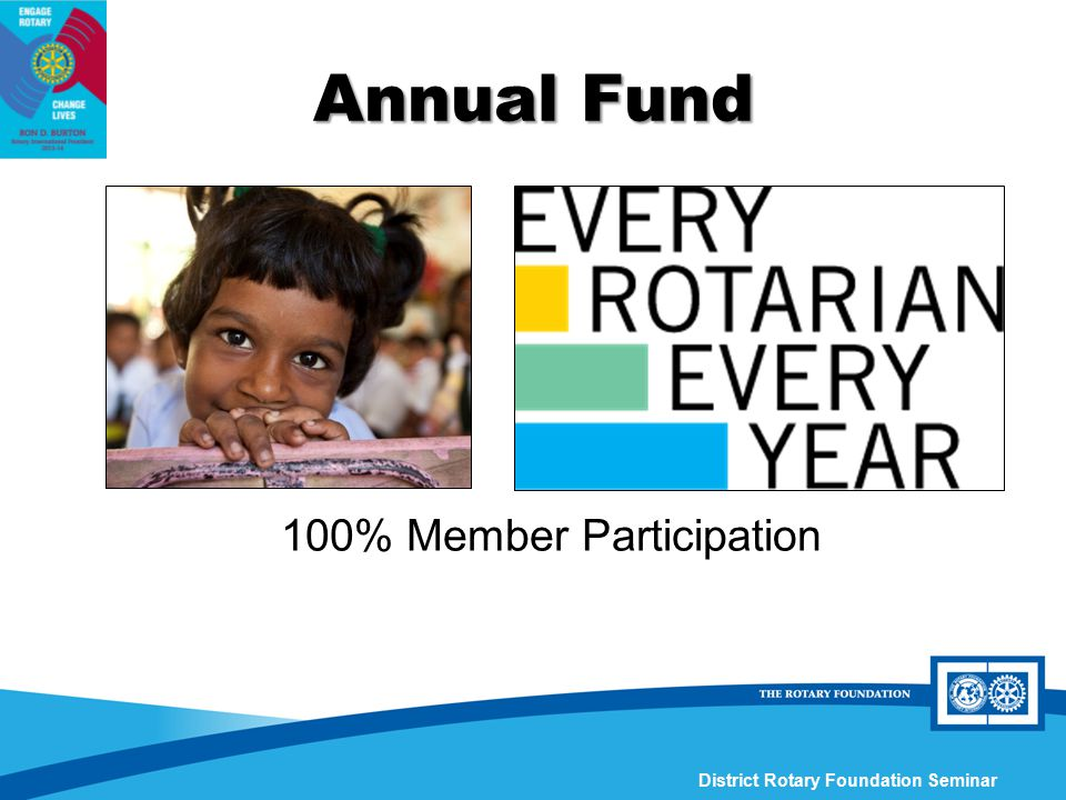 District Rotary Foundation Seminar 100% Member Participation Annual Fund
