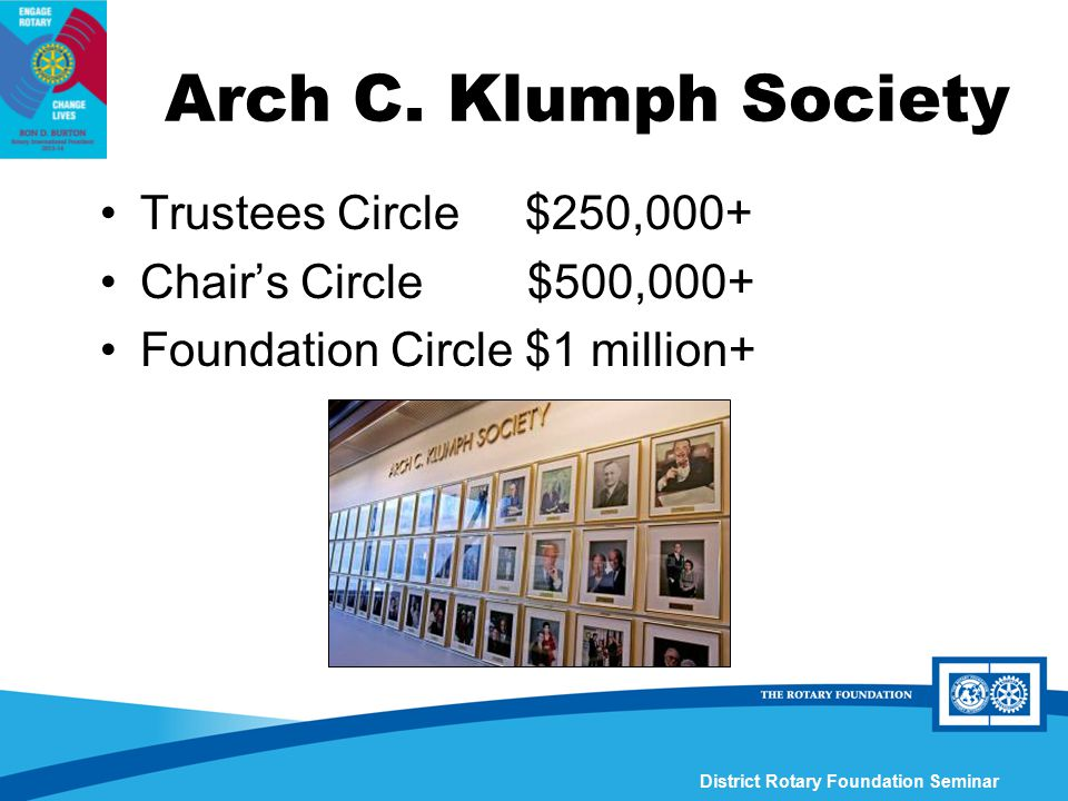 District Rotary Foundation Seminar Arch C. Klumph Society Trustees Circle $250,000+ Chair's Circle $500,000+ Foundation Circle $1 million+