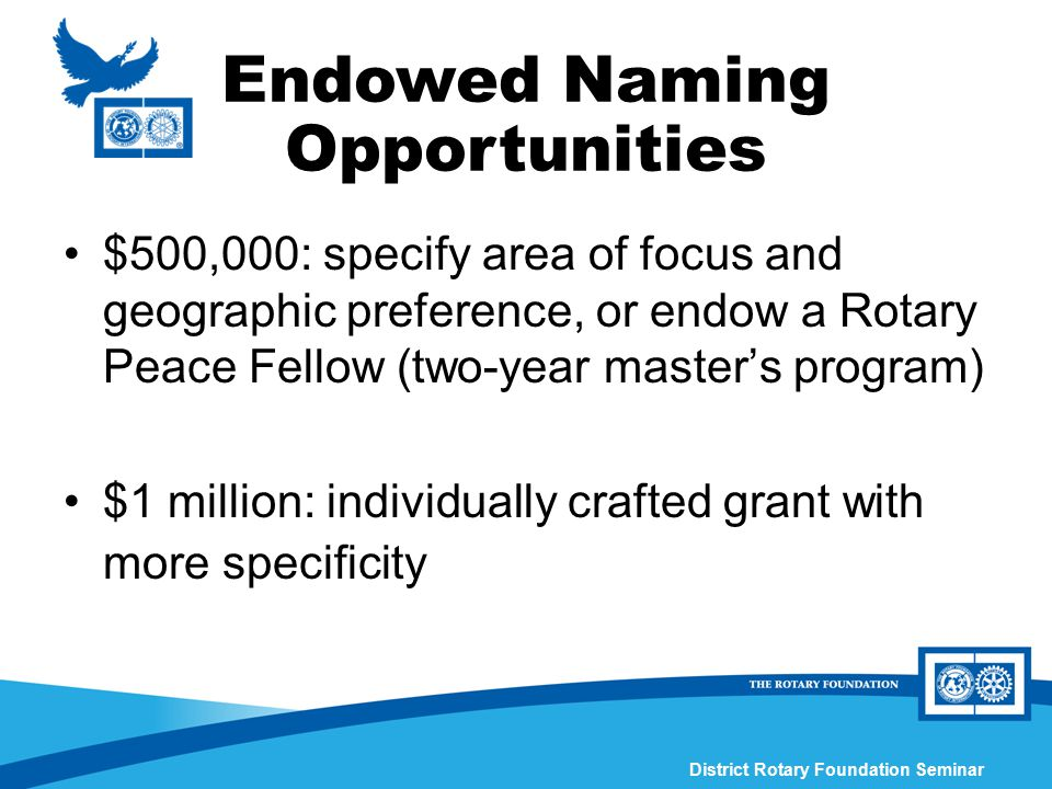 District Rotary Foundation Seminar Endowed Naming Opportunities $500,000: specify area of focus and geographic preference, or endow a Rotary Peace Fel