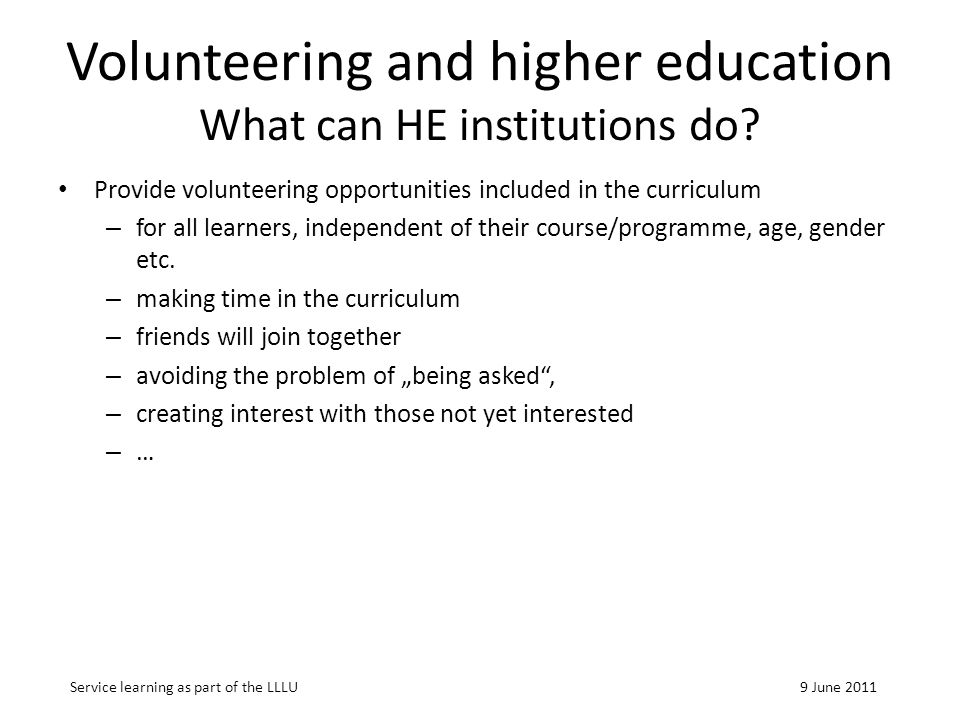 Volunteering and higher education What can HE institutions do.