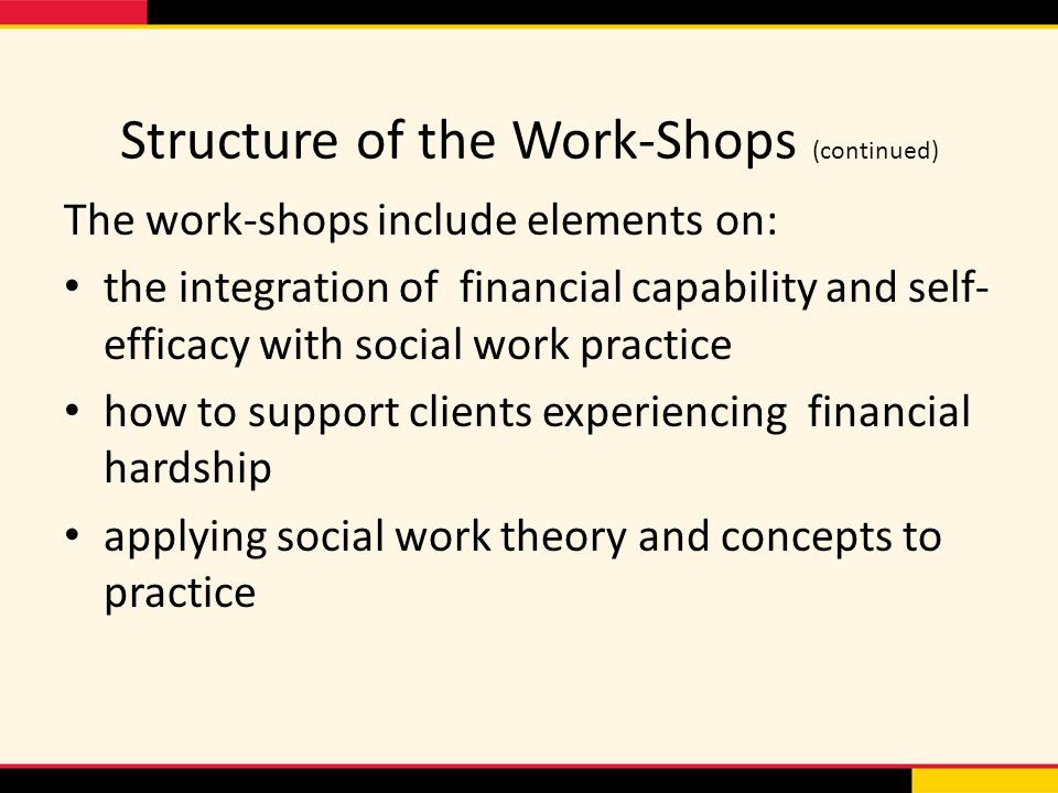 Structure of the Work-Shops (continued) The work-shops include elements on: the integration of financial capability and self- efficacy with social work practice how to support clients experiencing financial hardship applying social work theory and concepts to practice