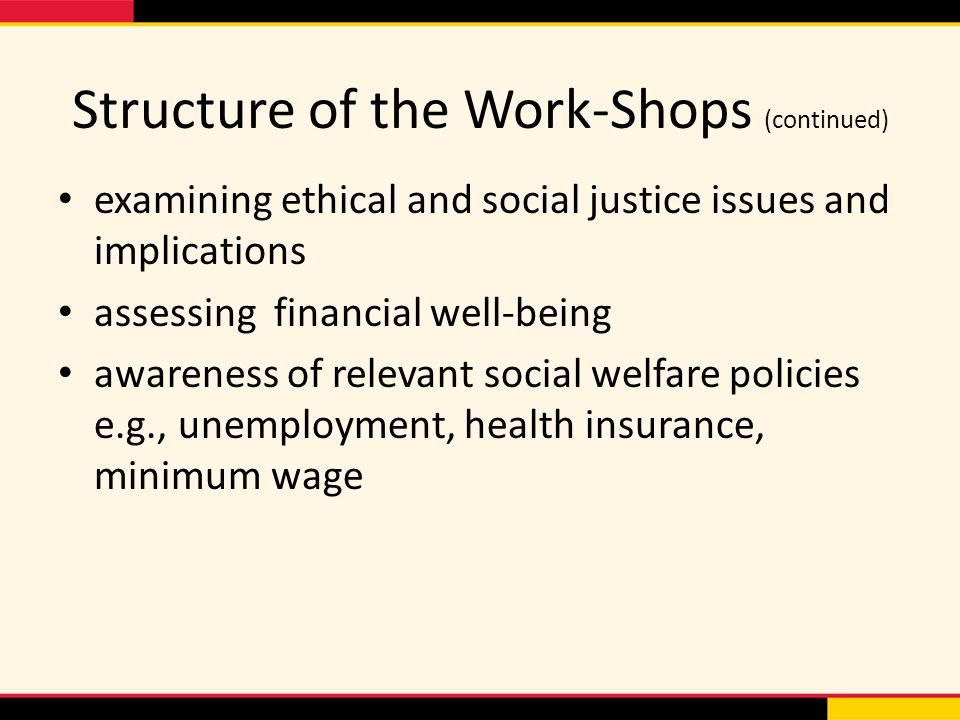 Structure of the Work-Shops (continued) examining ethical and social justice issues and implications assessing financial well-being awareness of relevant social welfare policies e.g., unemployment, health insurance, minimum wage
