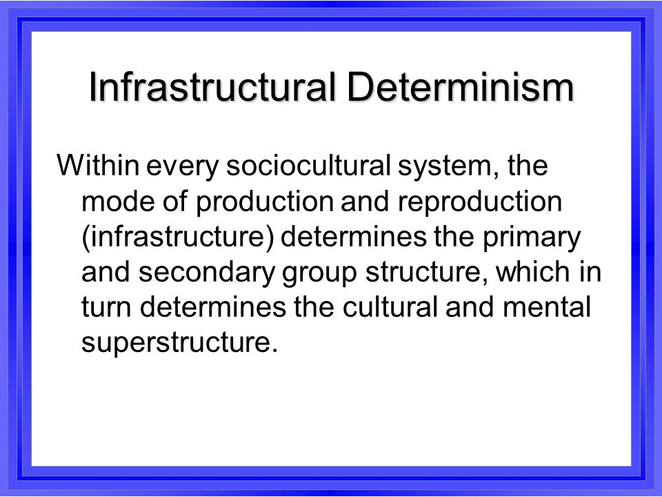 Infrastructural Determinism This principle claims a lot.