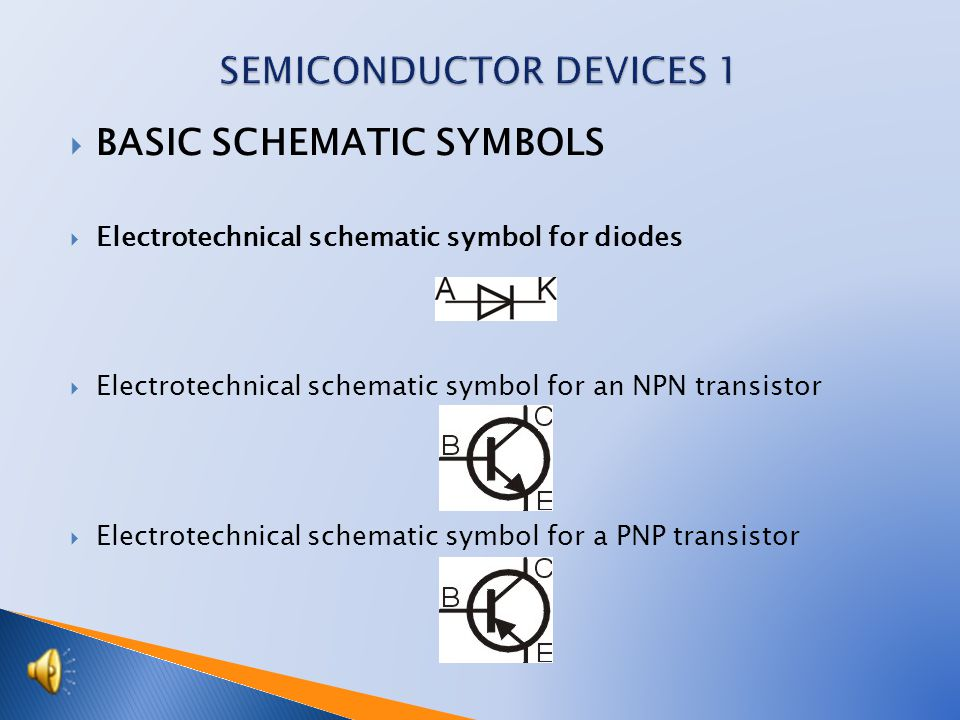  BASIC SCHEMATIC SYMBOLS  Electrotechnical schematic symbol for diodes  Electrotechnical schematic symbol for an NPN transistor  Electrotechnical schematic symbol for a PNP transistor