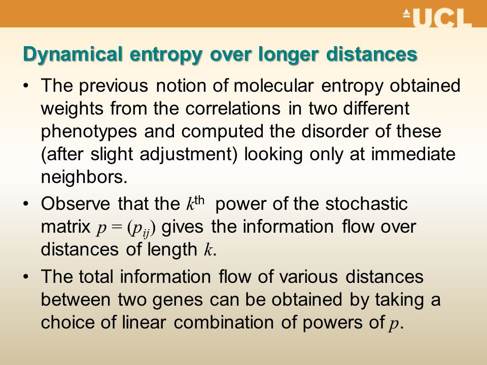 Dynamical entropy over longer distances The previous notion of molecular entropy obtained weights from the correlations in two different phenotypes and computed the disorder of these (after slight adjustment) looking only at immediate neighbors.