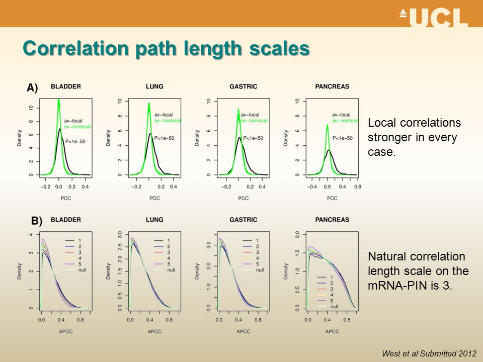 Correlation path length scales Natural correlation length scale on the mRNA-PIN is 3.