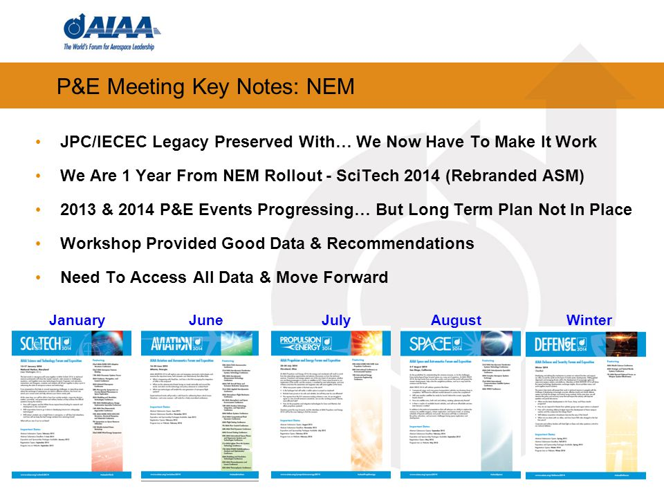 14 P&E Meeting Key Notes: NEM JPC/IECEC Legacy Preserved With… We Now Have To Make It Work We Are 1 Year From NEM Rollout - SciTech 2014 (Rebranded ASM) 2013 & 2014 P&E Events Progressing… But Long Term Plan Not In Place Workshop Provided Good Data & Recommendations Need To Access All Data & Move Forward JanuaryJuneJulyAugustWinter