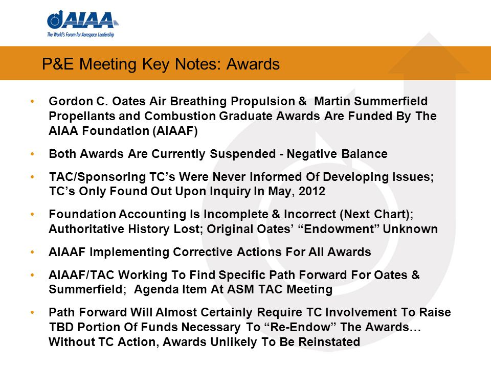 P&E Meeting Key Notes: Awards Gordon C.