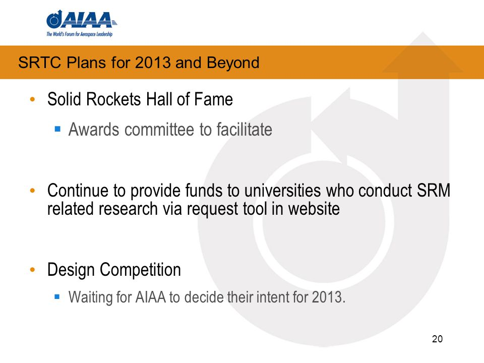 20 Solid Rockets Hall of Fame  Awards committee to facilitate Continue to provide funds to universities who conduct SRM related research via request tool in website Design Competition  Waiting for AIAA to decide their intent for 2013.