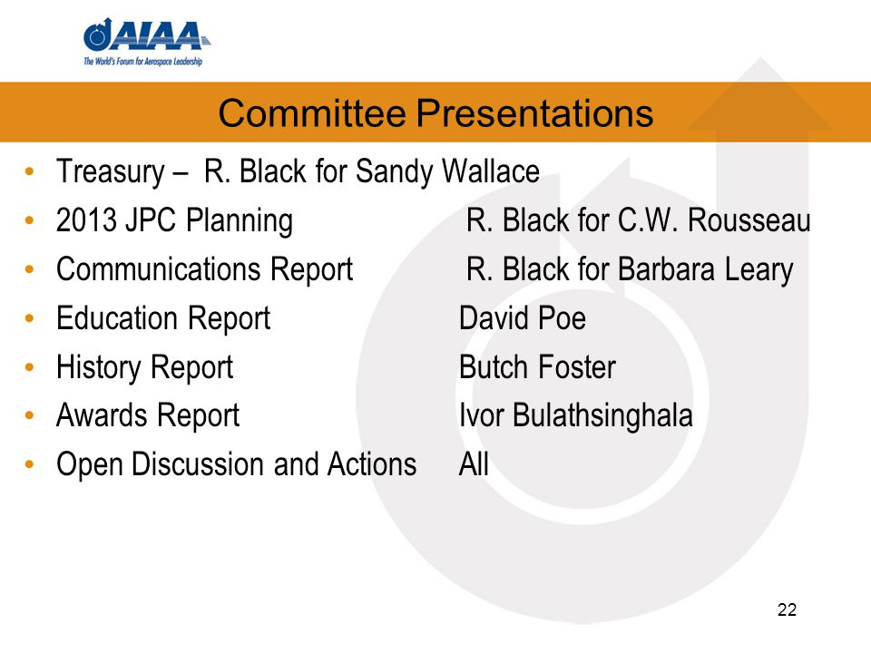 Committee Presentations Treasury – R. Black for Sandy Wallace 2013 JPC Planning R.