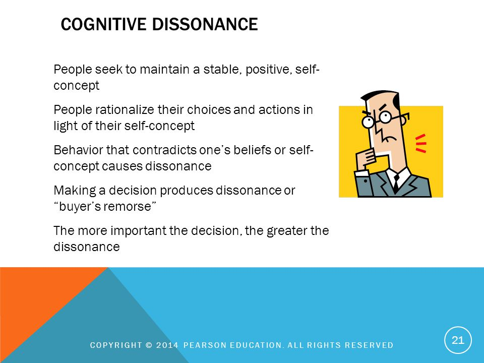 COGNITIVE DISSONANCE People seek to maintain a stable, positive, self- concept People rationalize their choices and actions in light of their self-con