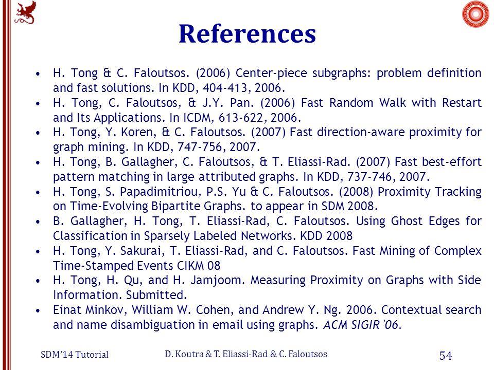 SDM'14 Tutorial D. Koutra & T. Eliassi-Rad & C. Faloutsos References H.
