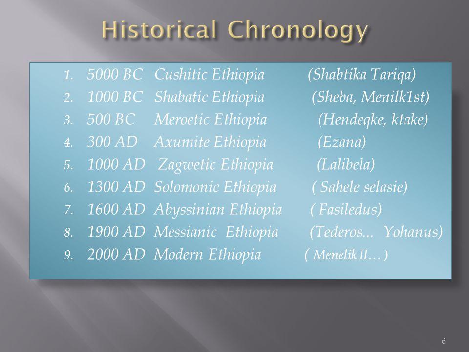 1. 5000 BC Cushitic Ethiopia (Shabtika Tariqa) 2.