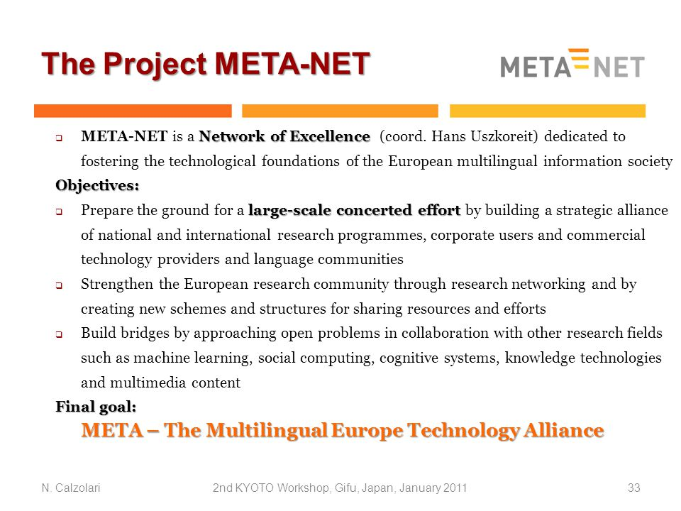 The Project META-NET N.