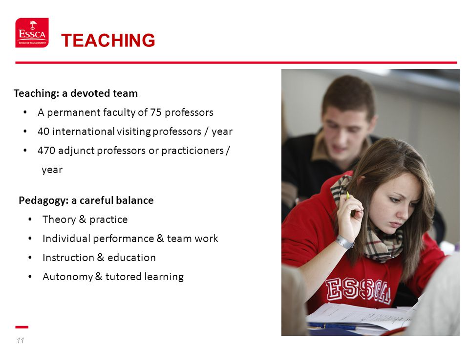 11 TEACHING Teaching: a devoted team A permanent faculty of 75 professors 40 international visiting professors / year 470 adjunct professors or practi