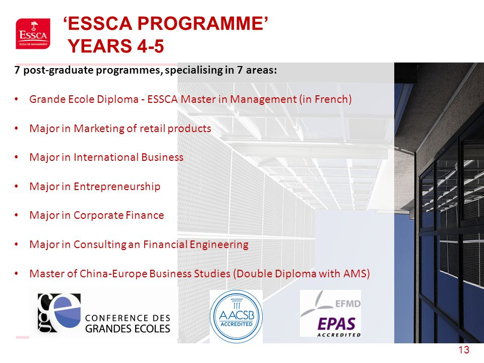 13 'ESSCA PROGRAMME' YEARS 4-5 7 post-graduate programmes, specialising in 7 areas: Grande Ecole Diploma - ESSCA Master in Management (in French) Majo