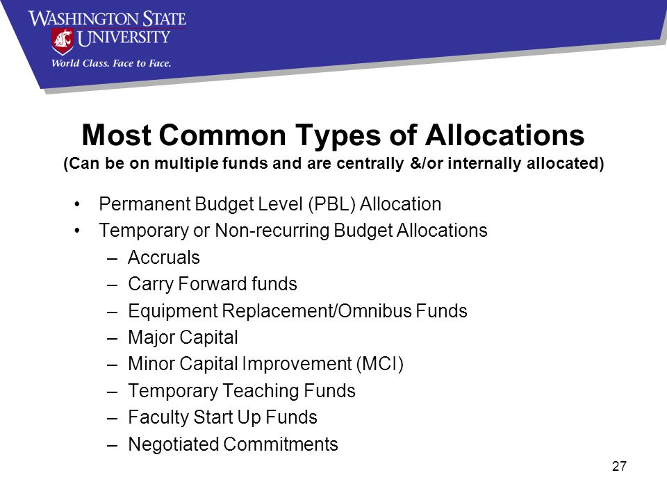 27 Permanent Budget Level (PBL) Allocation Temporary or Non-recurring Budget Allocations –Accruals –Carry Forward funds –Equipment Replacement/Omnibus Funds –Major Capital –Minor Capital Improvement (MCI) –Temporary Teaching Funds –Faculty Start Up Funds –Negotiated Commitments Most Common Types of Allocations (Can be on multiple funds and are centrally &/or internally allocated)