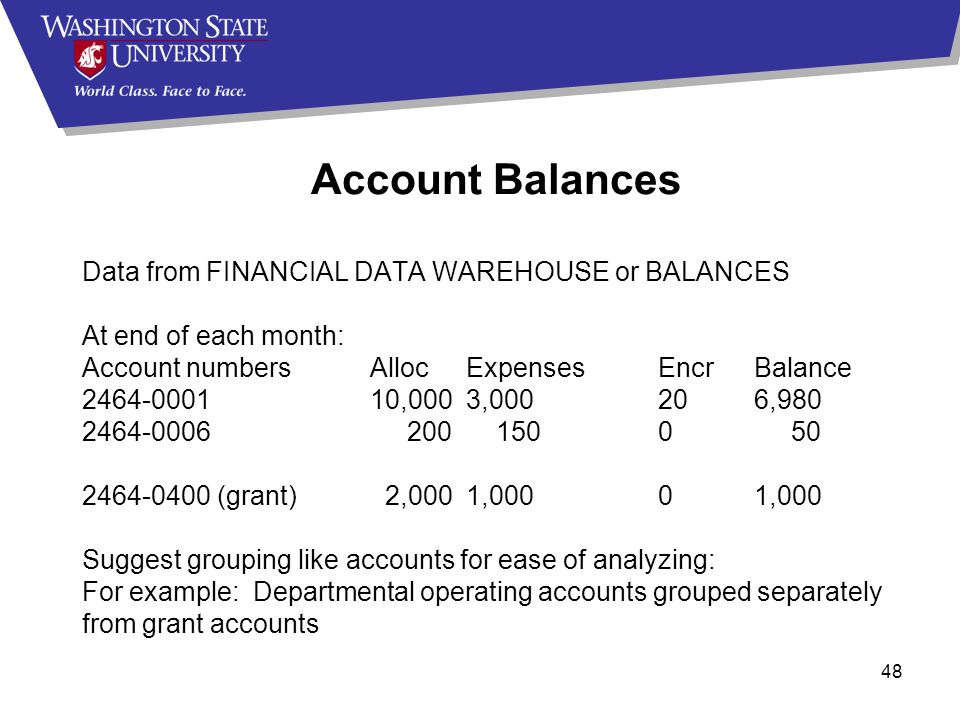 48 Account Balances Data from FINANCIAL DATA WAREHOUSE or BALANCES At end of each month: Account numbersAllocExpensesEncrBalance 2464-000110,0003,000206,980 2464-0006 200 1500 50 2464-0400 (grant) 2,0001,00001,000 Suggest grouping like accounts for ease of analyzing: For example: Departmental operating accounts grouped separately from grant accounts