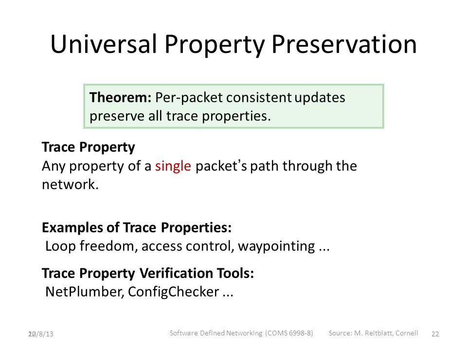 22 Universal Property Preservation Trace Property Any property of a single packet ' s path through the network.