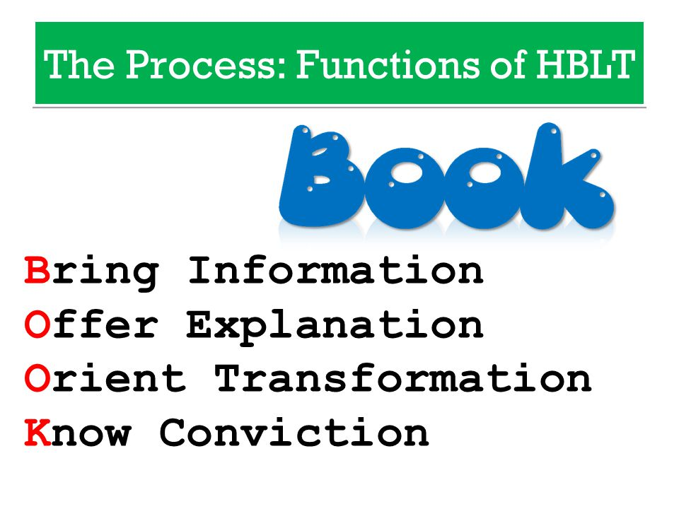 Bring Information Offer Explanation Orient Transformation Know Conviction The Process: Functions of HBLT