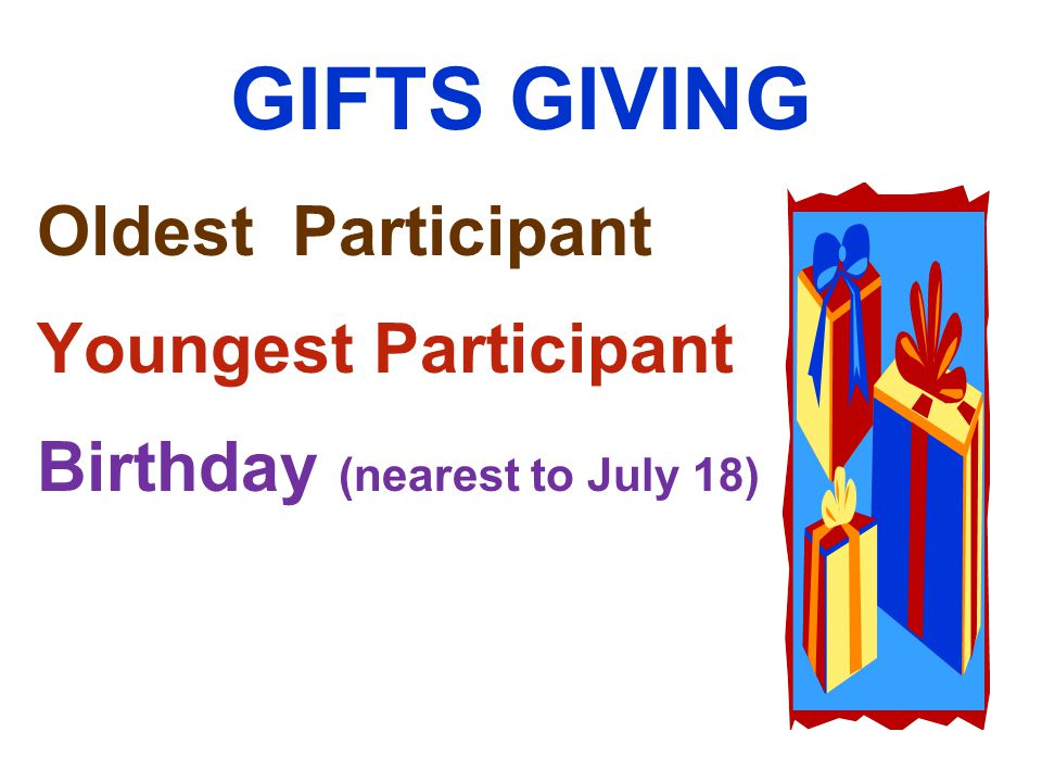 GIFTS GIVING Oldest Participant Youngest Participant Birthday (nearest to July 18)