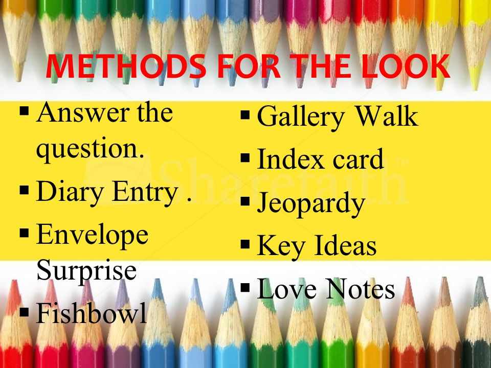 METHODS FOR THE LOOK  Answer the question.  Diary Entry.