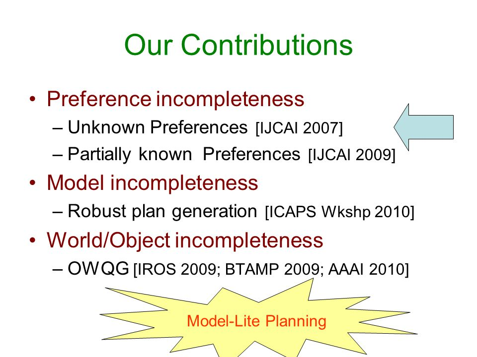 Our Contributions Preference incompleteness –Unknown Preferences [IJCAI 2007] –Partially known Preferences [IJCAI 2009] Model incompleteness –Robust p