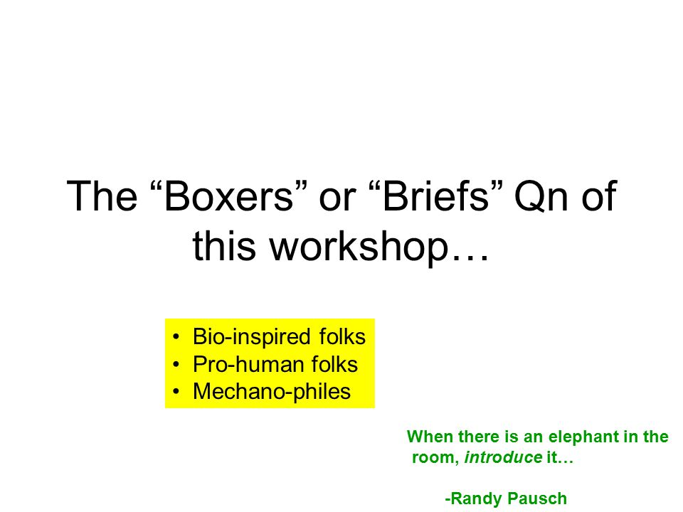"The ""Boxers"" or ""Briefs"" Qn of this workshop… When there is an elephant in the room, introduce it… -Randy Pausch Bio-inspired folks Pro-human folks Me"