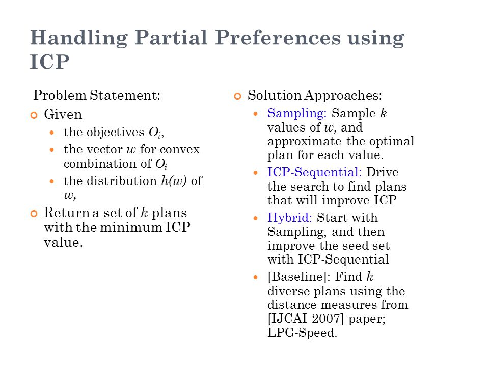 Handling Partial Preferences using ICP Problem Statement: Given the objectives O i, the vector w for convex combination of O i the distribution h(w) o