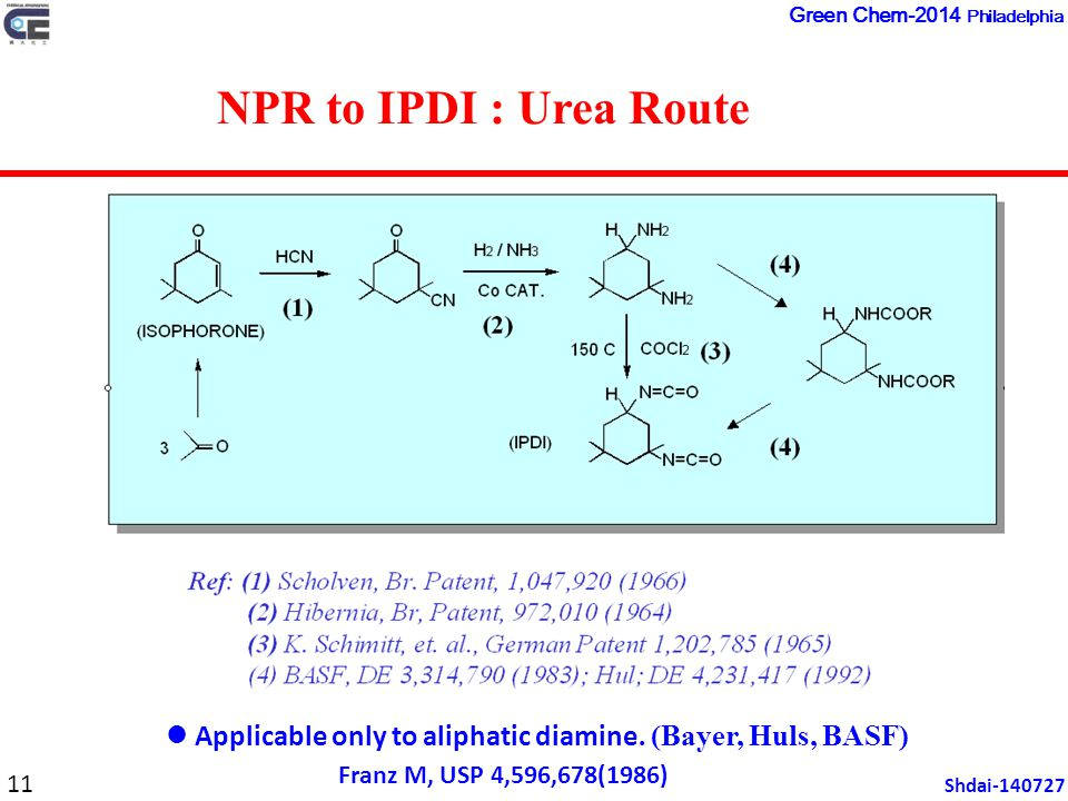 NPR to IPDI : Urea Route Applicable only to aliphatic diamine.