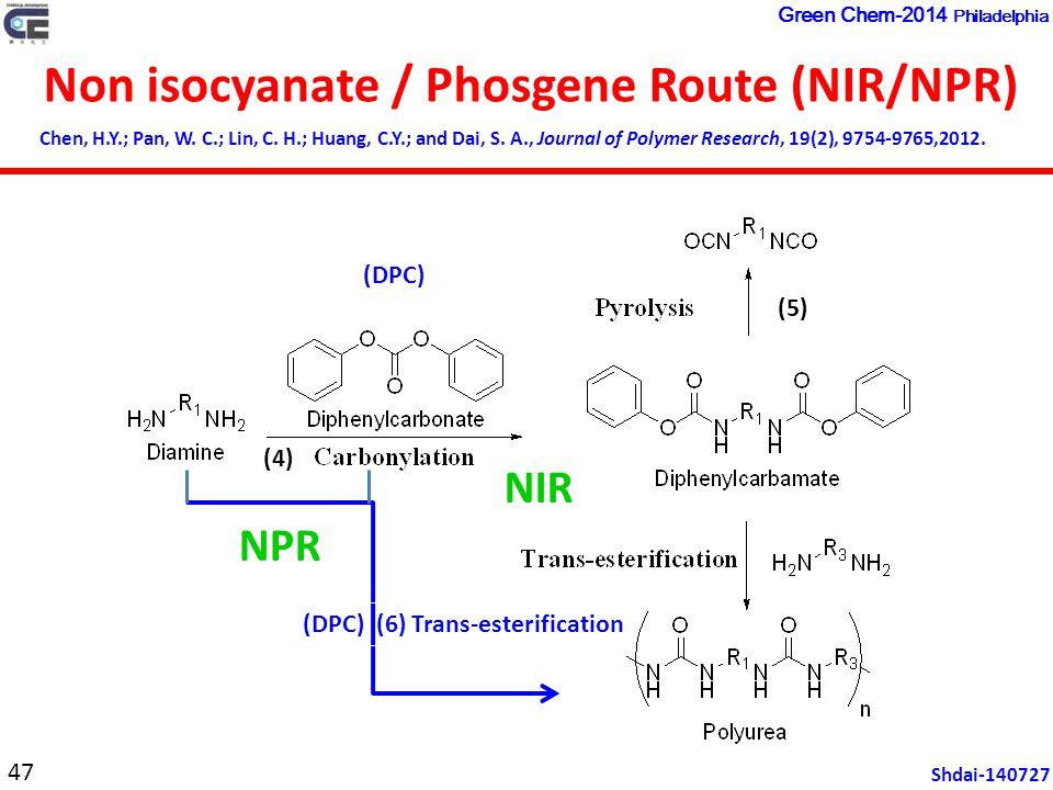 Non isocyanate / Phosgene Route (NIR/NPR) Chen, H.Y.; Pan, W.